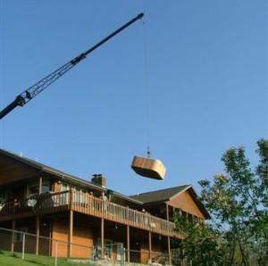 Crane Hot Tub over house