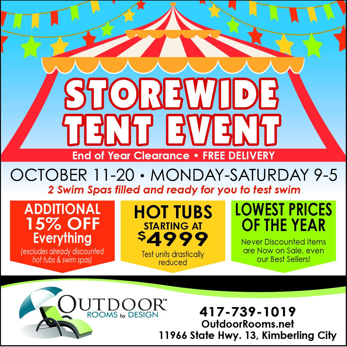 Tent Sale October 11-20!